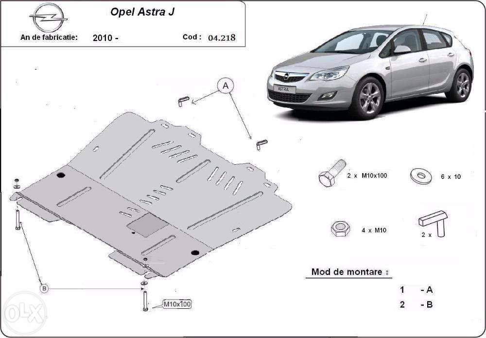 Scut metalic pentru motor Opel Astra I/J 2010-2016 - otel 2mm
