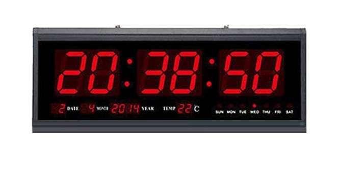 Ceas Mare Electronic Perete cu Afisaj Digital LED Rosu, Termometru