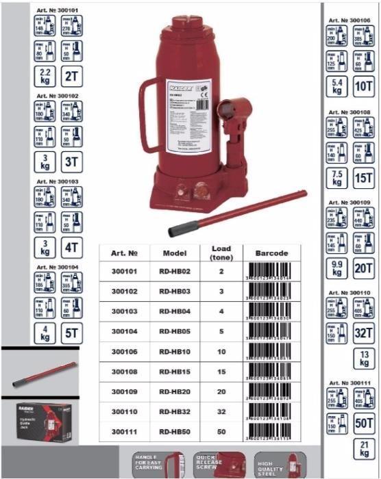 Cric hidraulic tip butelie 3 tone Raider RD-HB03
