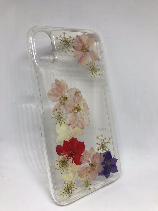 Husa Iphone X TPU transparent handmade cu Flori Reale
