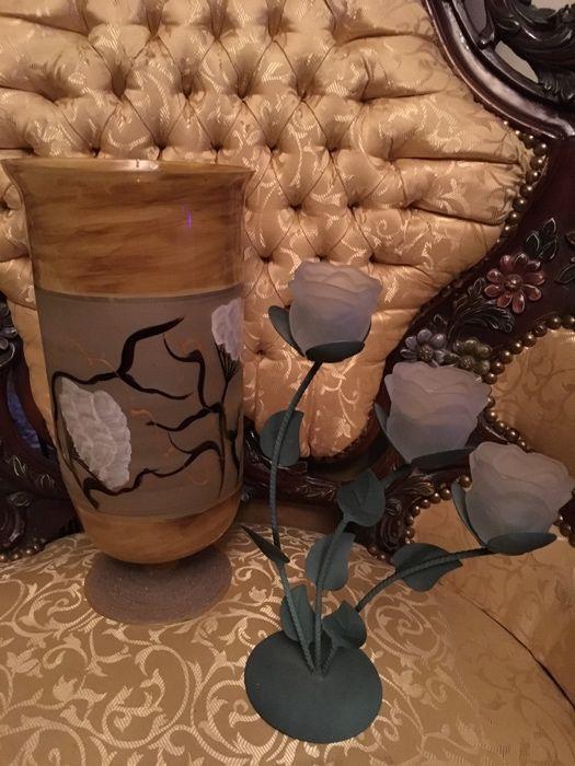 Vaza deosebita pictura manuala si sfesnic trei lumini,,deosebite