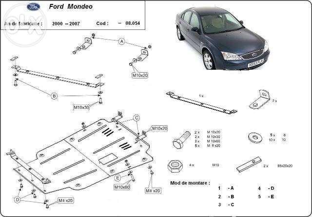 Scut metalic pentru motor Ford Mondeo 2000-2007 - otel 2mm