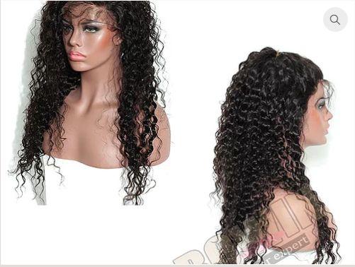 Peruca front lace de cabelo cacheado virgem brasileiro 18 Polegadas
