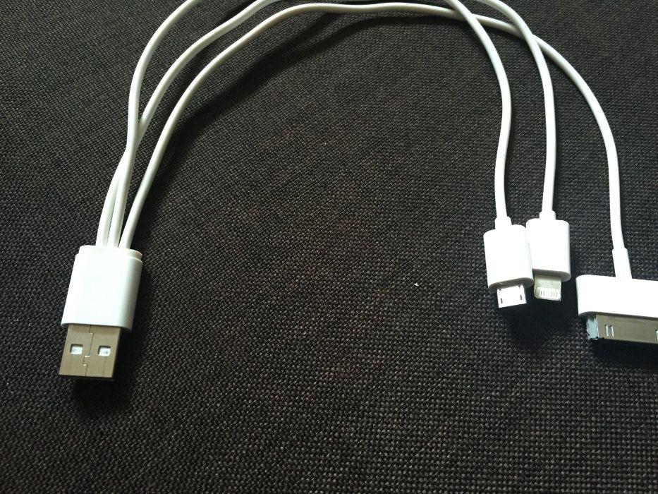 Cablu USB cu 3 iesiri pentru Iphone 4/Iphone 6 sau Samsung