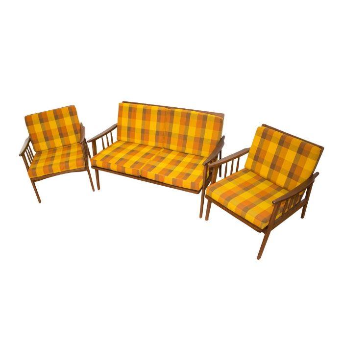 Set canapea 2 locuri si fotolii, stil scandinav, anii '60