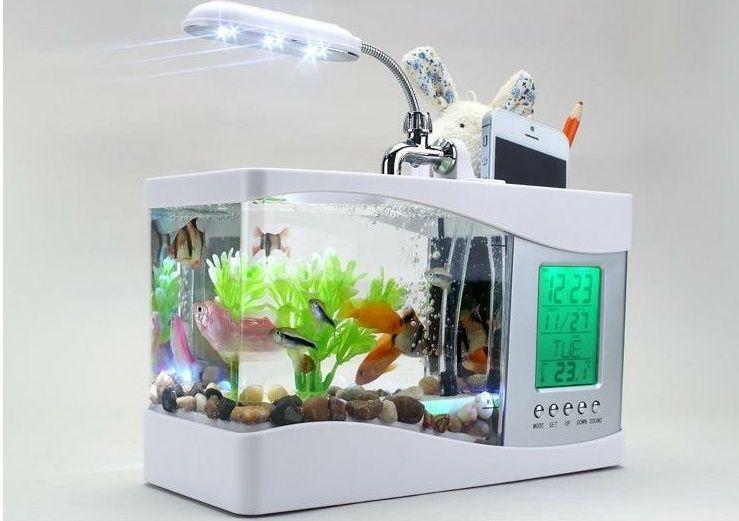 Мини Аквариум с Органайзером Mini USB Aquarium Fish Tank