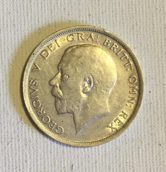 moneda de argint 925/1000, half crown Marea Britanie 1915