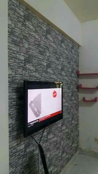 Montamos papel de parede, na sala, quarto e varanda