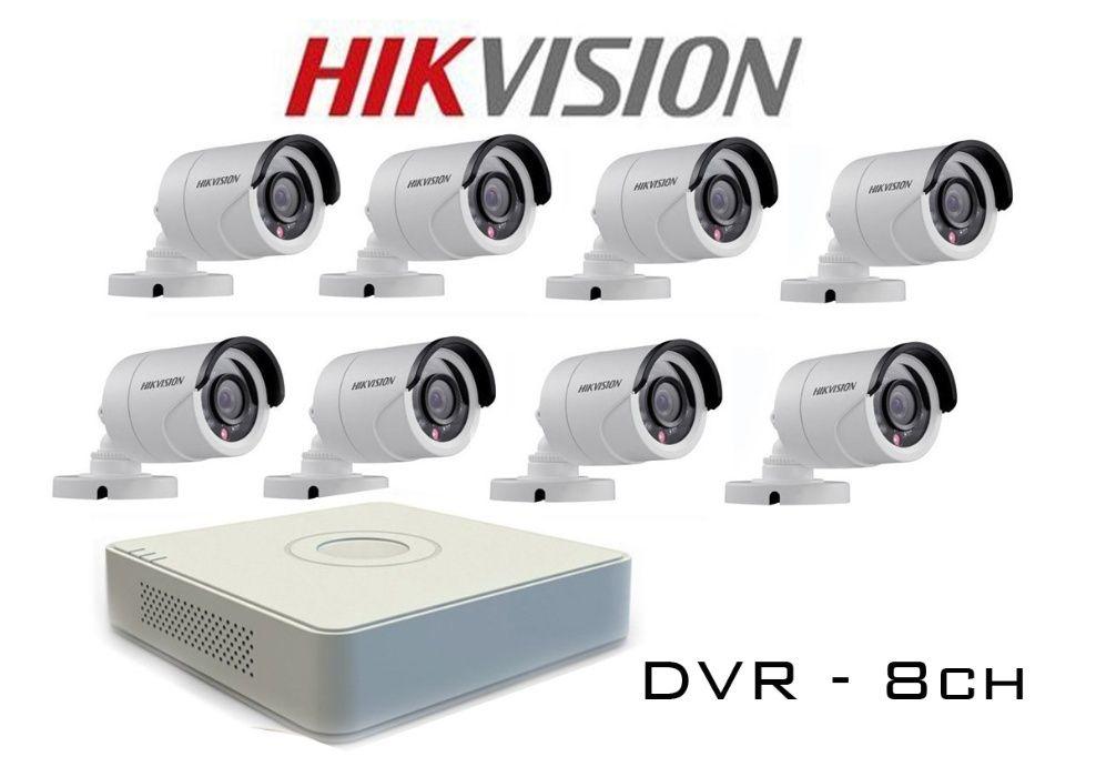 Комплект за видеонаблюдение с 8 HD-TVI камери HIKVISION + захранване