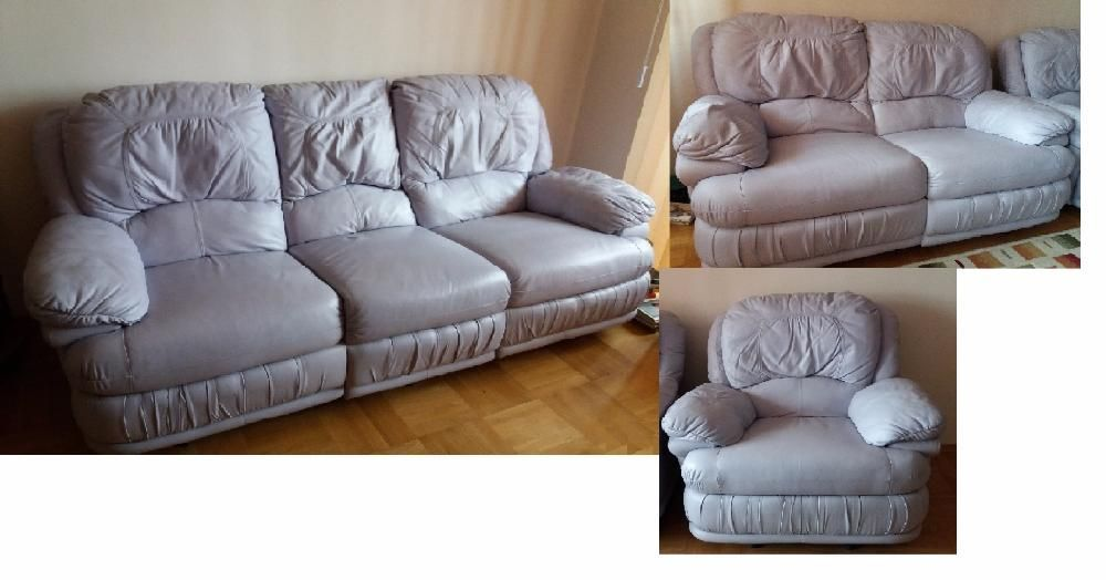 Комплект лилави естествена кожа дивани и фотьойл с релакс механизъм
