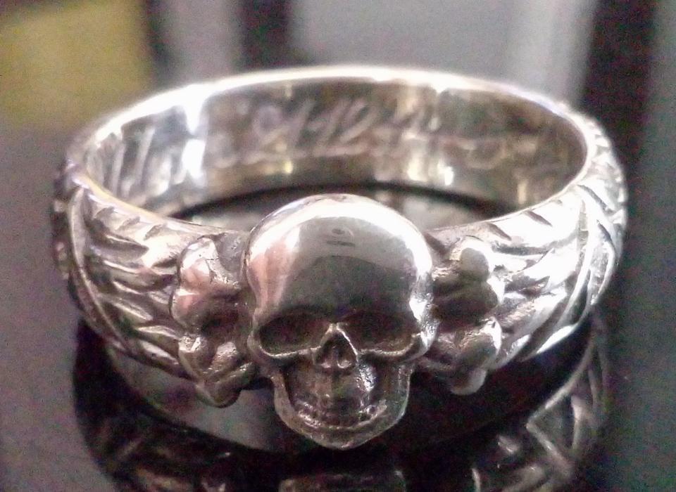 Inel SS totenkopf, honour ring, argint