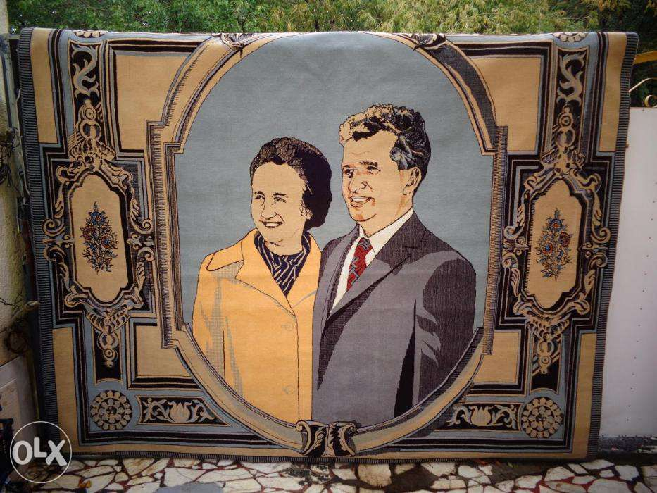 Covor manual lana cu portret Nicolae si Elena Ceausescu Bucuresti - imagine 2