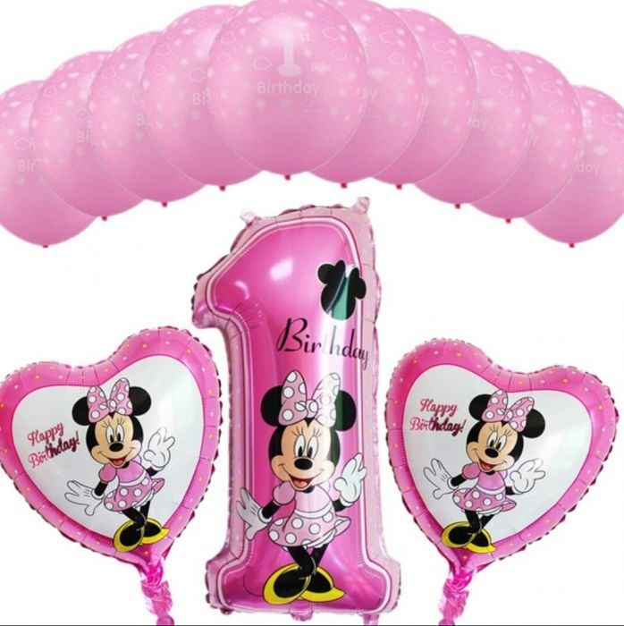 Set baloane Minnie / Mickey / Donald Duck / cifra 1, taiere de mot