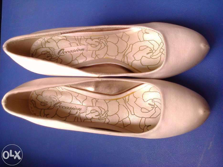 Pantofi dama noi satin alb fildes Next UK pt. mireasa nunta nr. 36-42