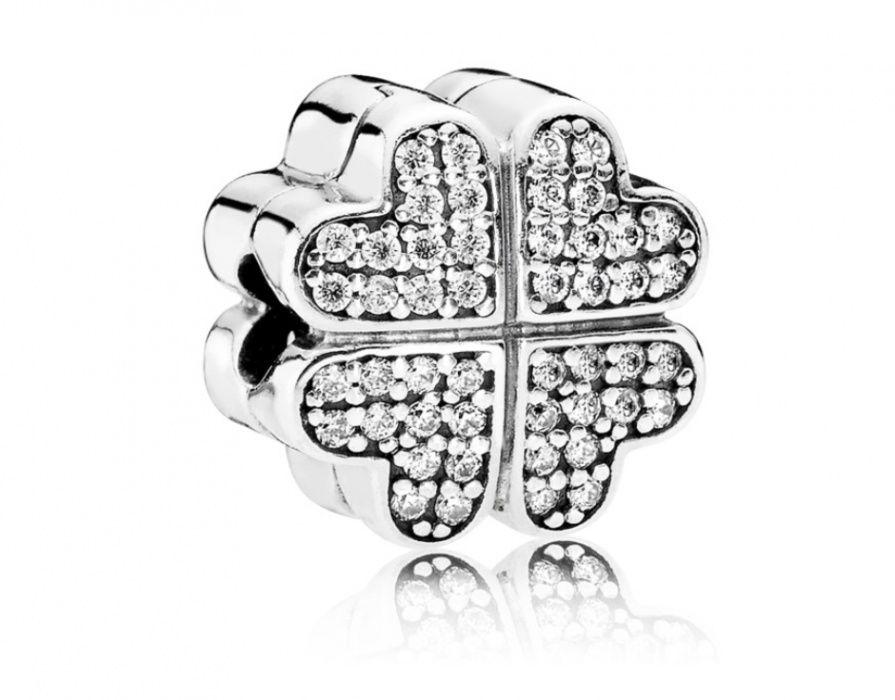 Clips Pandora, trifoi în formă de inimă din argint!