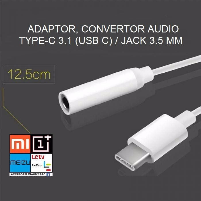 Vand Adaptor / Convertor Audio Usb 3.1 Type-c la Jack 3,5 mm. NOU !