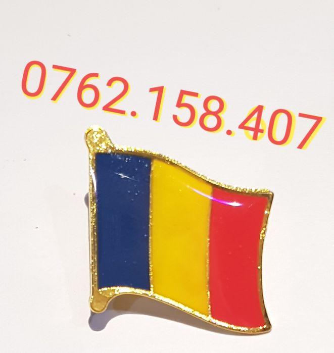 Set 12 insigne tricolore tip broșă cu ac