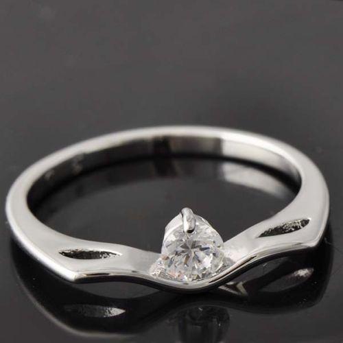 GR152,inel placat aur alb 18k,ideal logodna, zircon alb fatetat