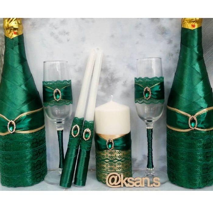 Свадебный набор на заказ (бутылки, бокалы, свечи, казна)