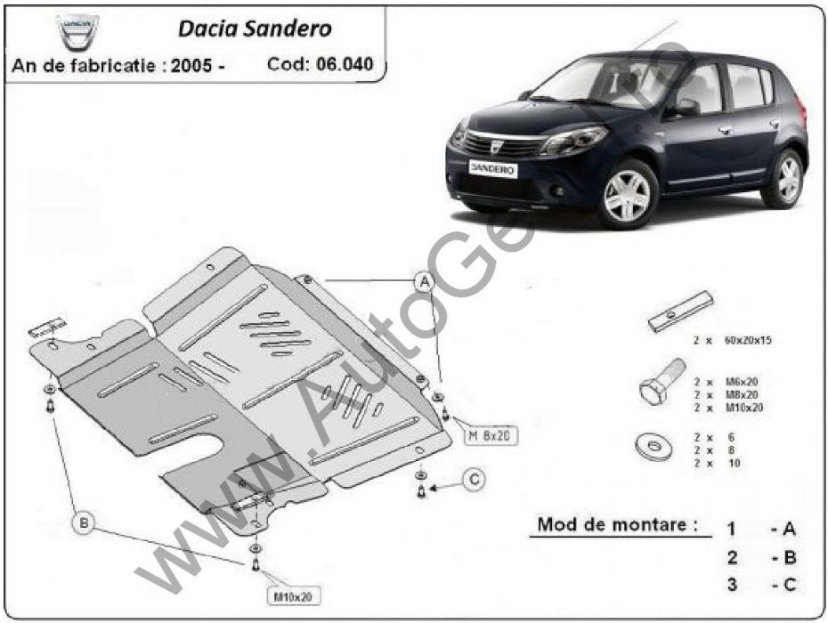 Scut motor metalic Dacia Sandero 2005-2012 - otel 2mm