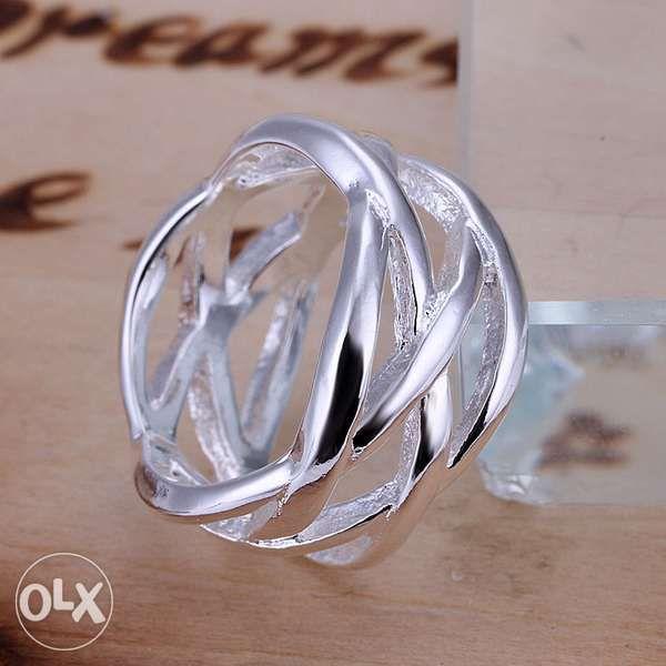 AG25,inel argint 925,nou/marcat,lat,stil verigheta, impletitura