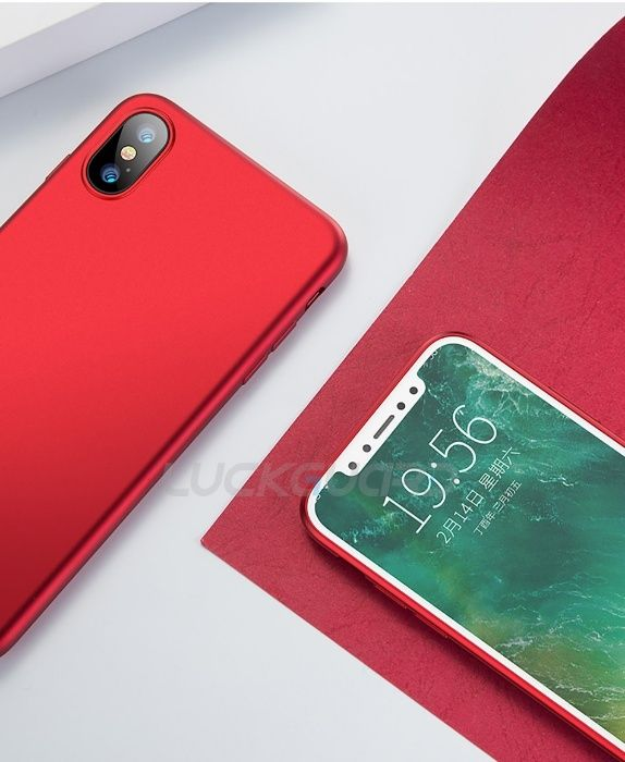 Husa Iphone 6 6S 7 8 7+ 8+ X XS 10 - Silicon Slim 0.3mm Red/Rosie
