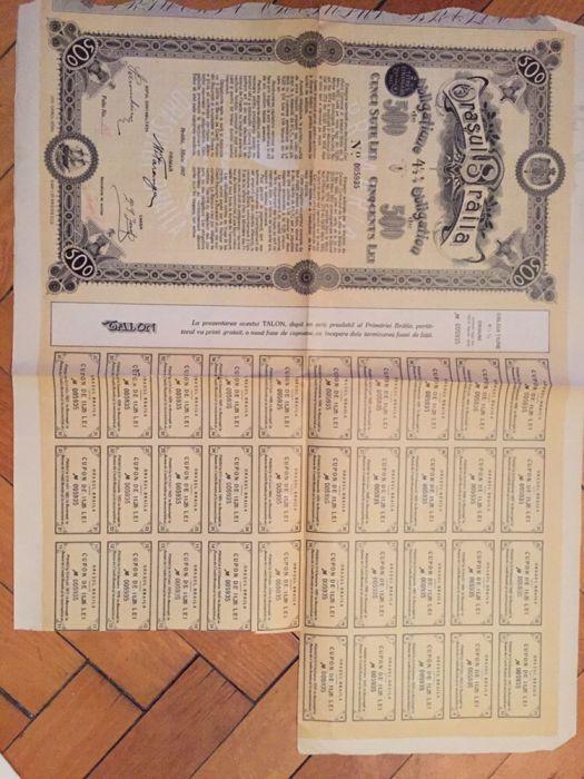 Obligatiune municipala Orasul Braila 500 lei