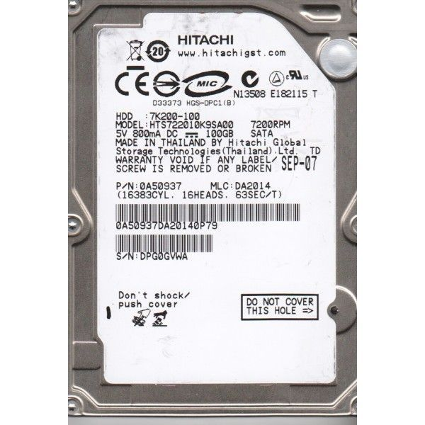 hard disk laptop sata hitachi 100gb 7200rpm