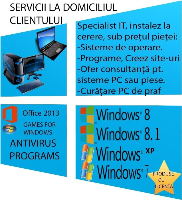 Instalare windows / Reparatii Laptop, Calculator pe loc /Router