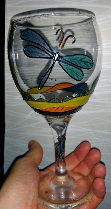 Set 6 pahare vin cu ornamentatii de aur 24 K si pictat manual