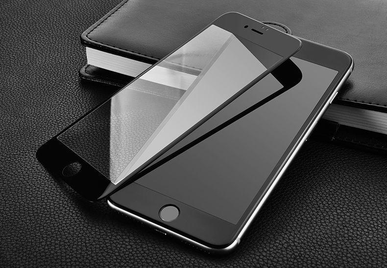 Iphone 7 7 Plus 8 8 Plus Folie Sticla Securizata Curbata 5D Alba Neagr