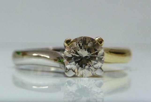 Inel logodna aur 14k cu diamant 0.38ct