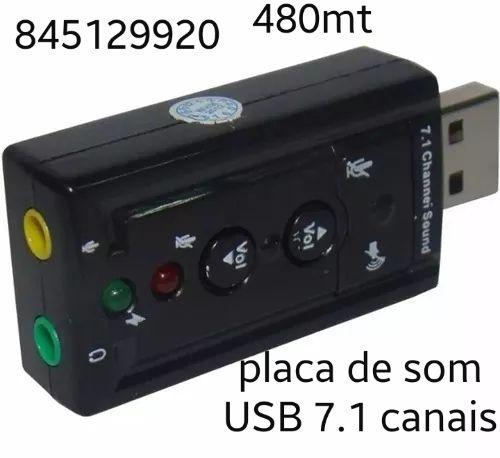 Kit Placa de Som USB 7.1 Canais Adaptador Pronta entrega