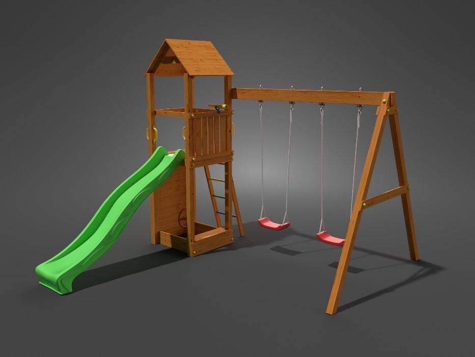 Fungoo FLAPPI дървена детска площадка с пързалка и 2 люлки гр. София - image 2