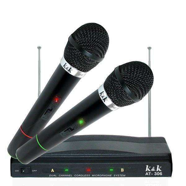 Set 2 microfoane wireless AT306,microfoane wireless karaoke ,petreceri