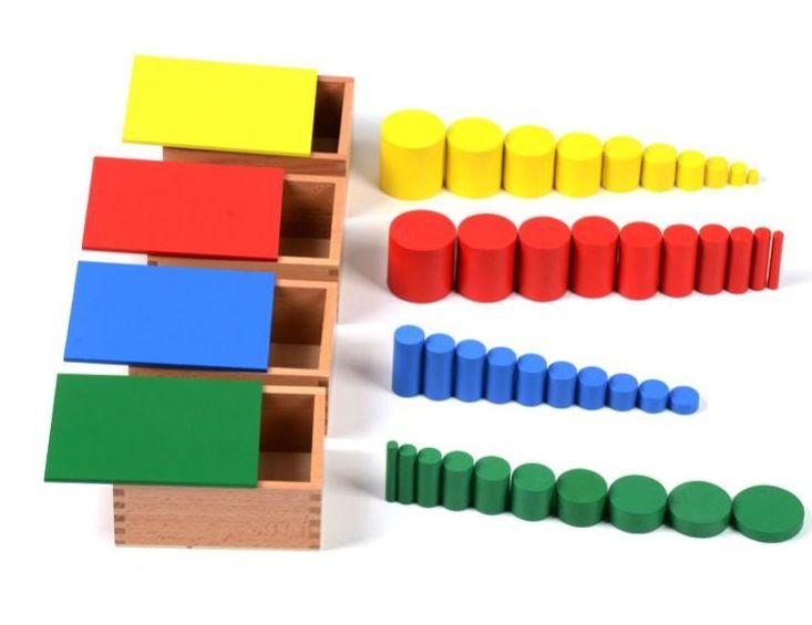 Цветни 40бр. цилиндри в 4 кутии Монтесори за възприятие и сензорика