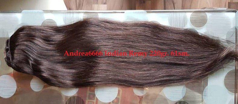 Тъмно кестенява индийска 220гр. 61см. 100% естествена индийска коса!!