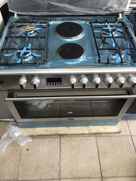 Fogão misto de 6 bocas : 4 a gás e 2 eléctricas : forno eléctrico