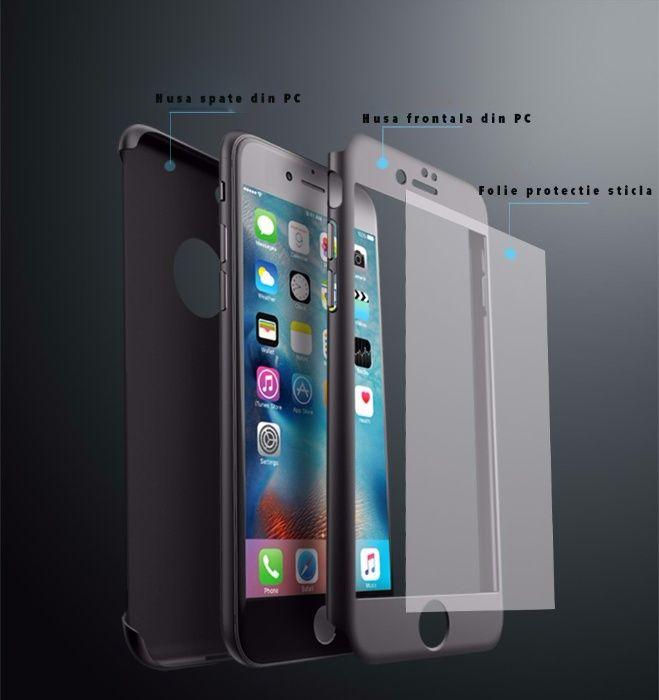 Husa iPaky cu protectie 360º pentru iPhone 8 ARGINTIU cu folie