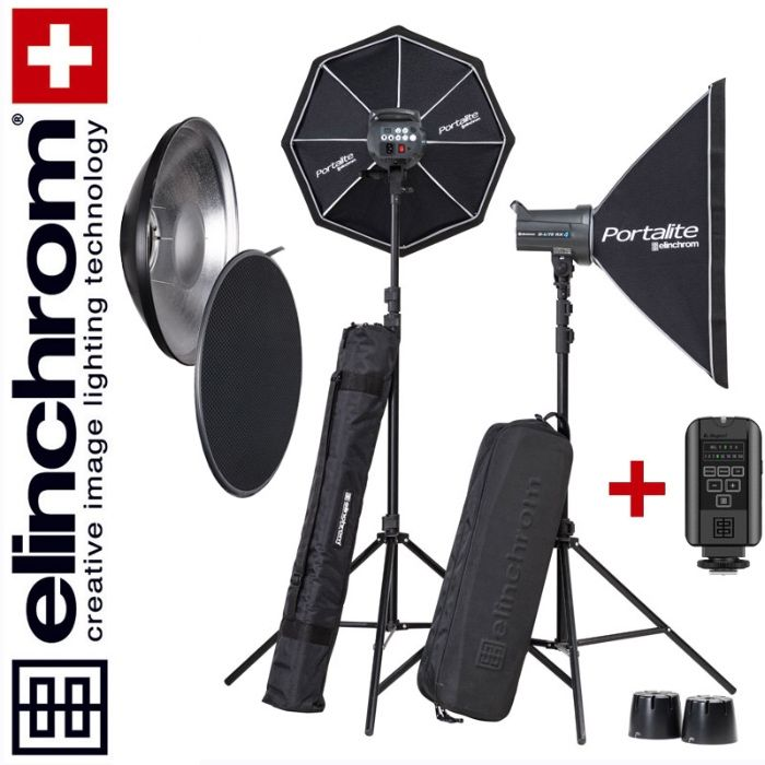 Elinchrom D-LITE RX4 x 2 KIT SOFTBOX Canon + Beauty dish aproape NOU
