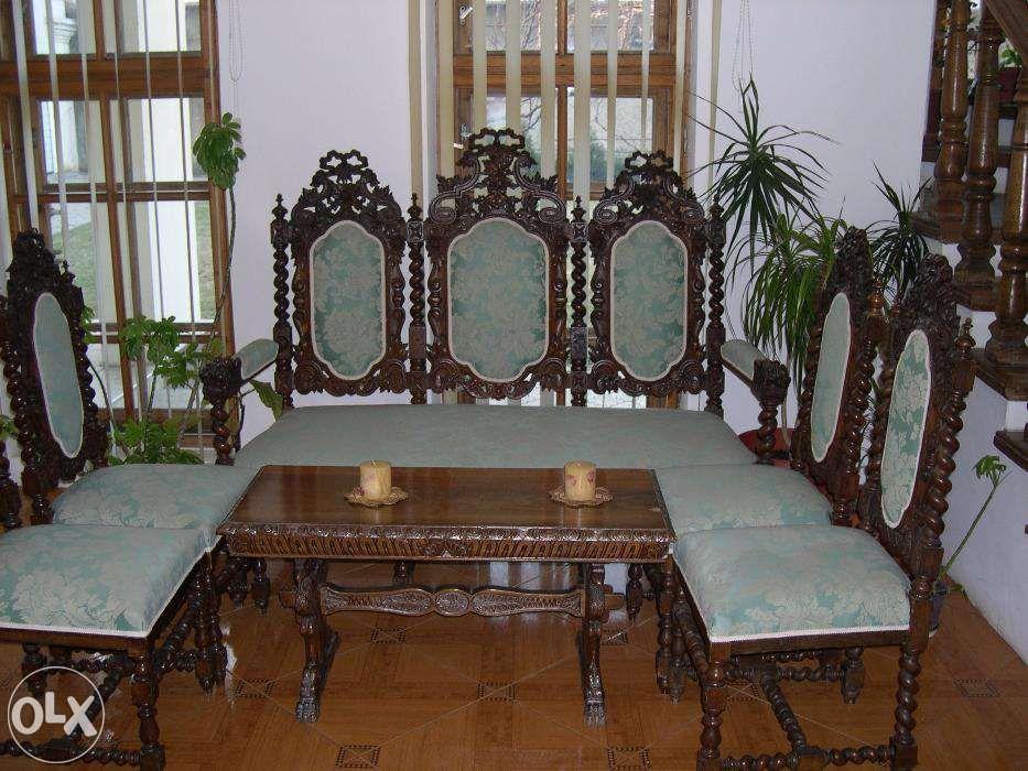 Canapea sec XIX din lemn masiv cu 4 scaune, stil Florentin