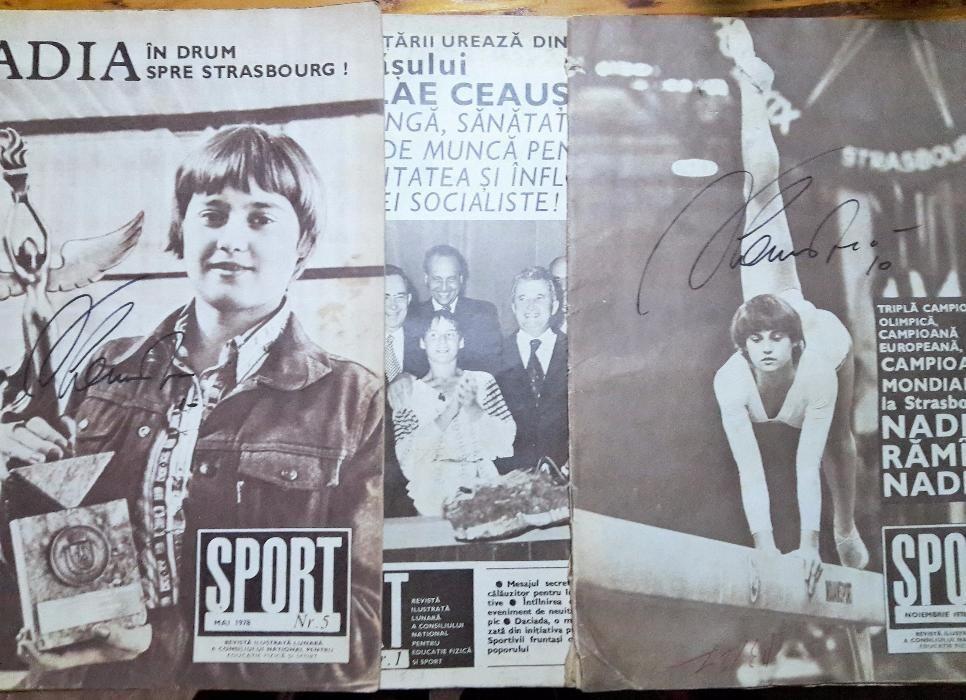 lot Nadia Comaneci: 3 reviste 1978, 2 autografe, un marker, Ceausescu