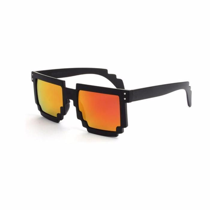 Ochelari Soare Unisex Trendy - MINECRAFT MODEL -Negru + Lentila Rosie