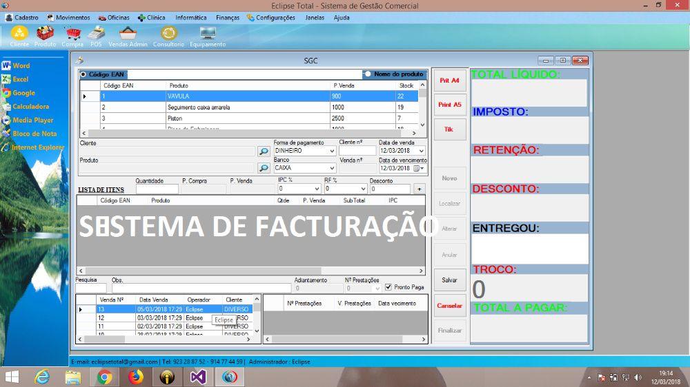 Programa de Faturação para Lojas, Farmácia, clinicas, Oficina Auto et