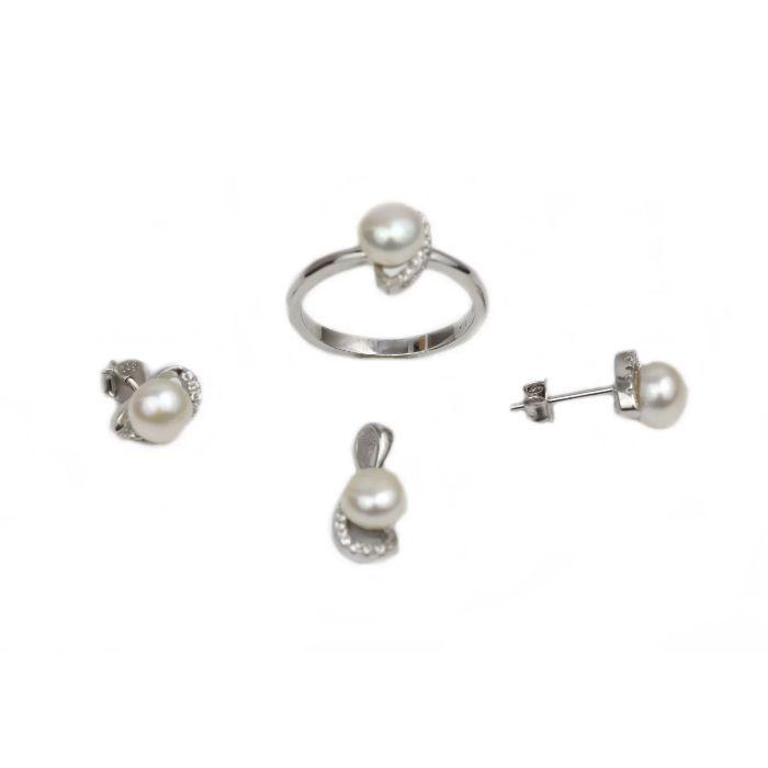 Set argint cu zirconiu si perle - DA221 - Transport Gratuit Curier