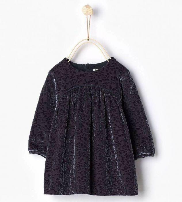 Zara, rochie din catifea cu dublura, NOUA, 1-3 luni, 6-9 luni