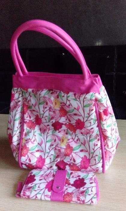 Комплект чанта и портмоне на цветя