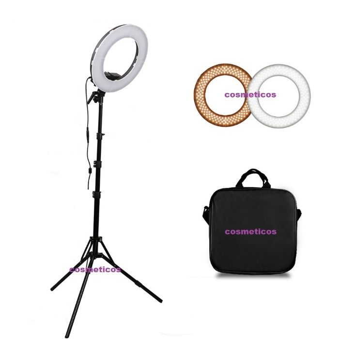 Lampa circulara LED lumina rece/calda, trepied geanta, Ring Light 35cm