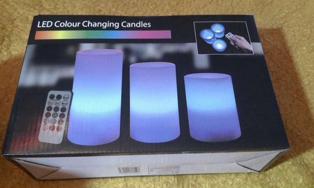 Set 3 lumânări electrice cu LED RGB+telecomanda multicolor IDEAL CADOU