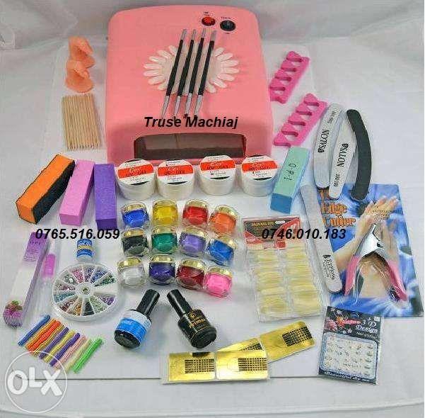 OFERTA Kit unghii false,gel uv-lampa UV,primer,topcoat+GHID aplicare